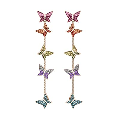 34a9e8372 Swarovski Lilia Pierced Earrings, Multi-colored, Rose gold plating:  Amazon.co.uk: Jewellery