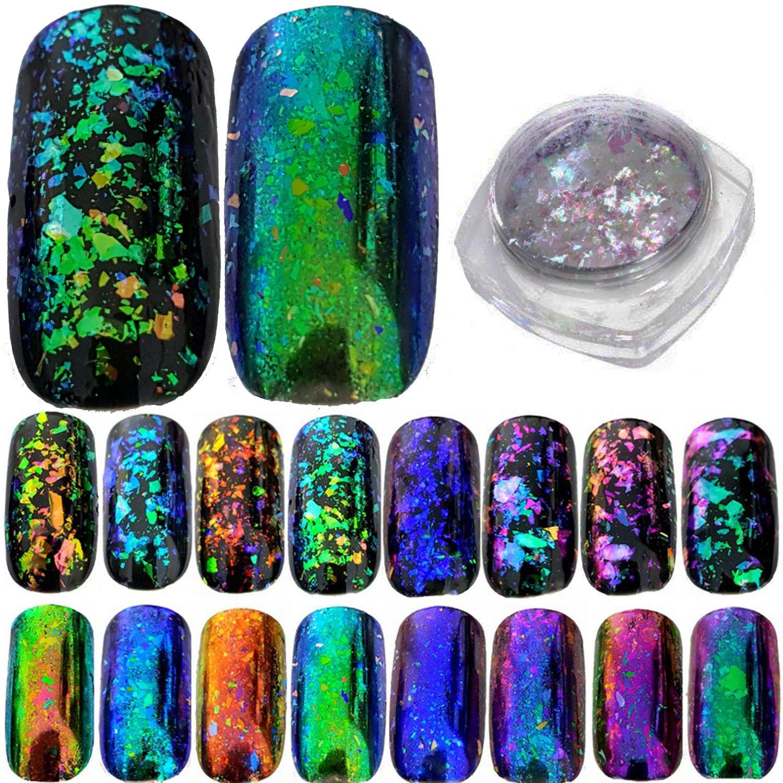 Camaleón holográfica capas para uñas lentejuelas cristal roto efecto ...