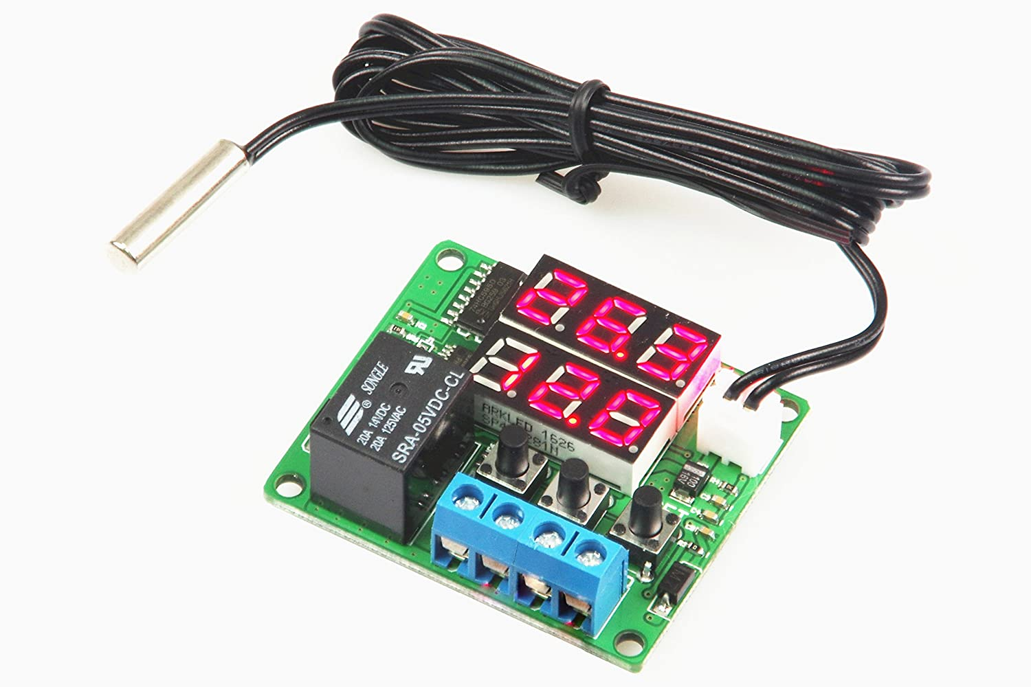 LM YN Digital Thermostat Module DC 5V 100℃ Temperature Controller Board Electronic Temperature Control Module Switch Waterproof Sensor Probe Dual LED Display Red+Red 20℃ to