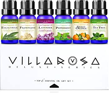 [Purity Test Attached] Villarosa™ Deluxe 100% Pure & Natural Essential Oils Gift Set (6 x 10ml Value Pack) | Aussie Owned & Operated | Highest Authenticity | Crafted Designer Packaging | Perfect For Aromatherapy, Aroma Diffusers & Gift Ideas - Eucalyptus, Peppermint, Lavender, Frankincense, Tea Tree & Sweet Orange | Complimentary eBook Download | Prime Shipping Available | Ideal For Valentine's Day, Christmas & Santa Claus Gifts, Mother's Day, Birthday, Thanksgiving Day Presents