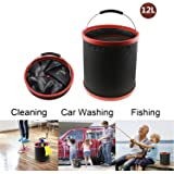 Collapsible Bucket 12L/3.2Gal, LC-dolida Portable Folding Pail Fishing Cleaning Bucket Car Wash Bucket No Leakage Fabric with Zippered Storage Bag for Hiking Camping House Working Picnic