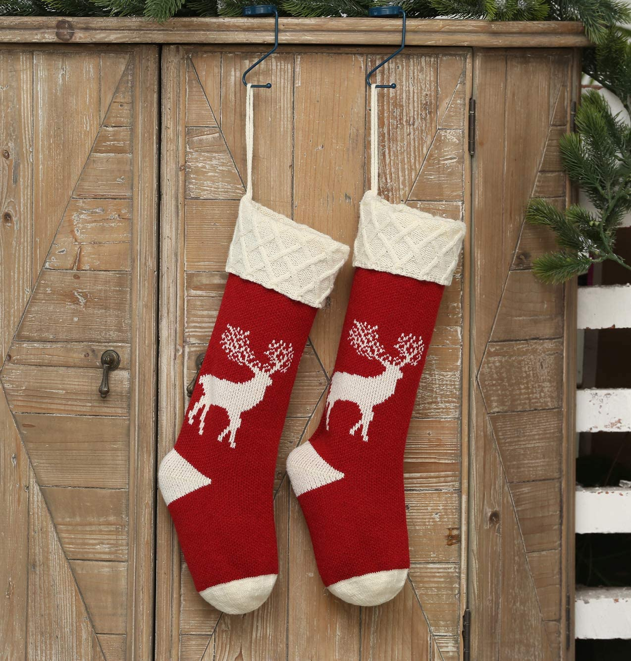 Christmas Stockings Knitted Reindeer Pattern Xmas Stockings Traditional Hanging Socks Ornament For Family Holiday Party Decorations