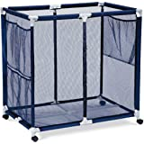 Pool Accessories, Balls and Outdoor Toys Storage Bin - Pool and Ball Storage Organizer with Nylon Mesh Basket   Hold Beach Towels, Linens and floatation Devices