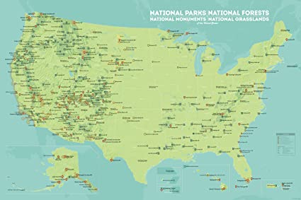 Amazoncom US National Parks Monuments Forests Map 24x36 Poster