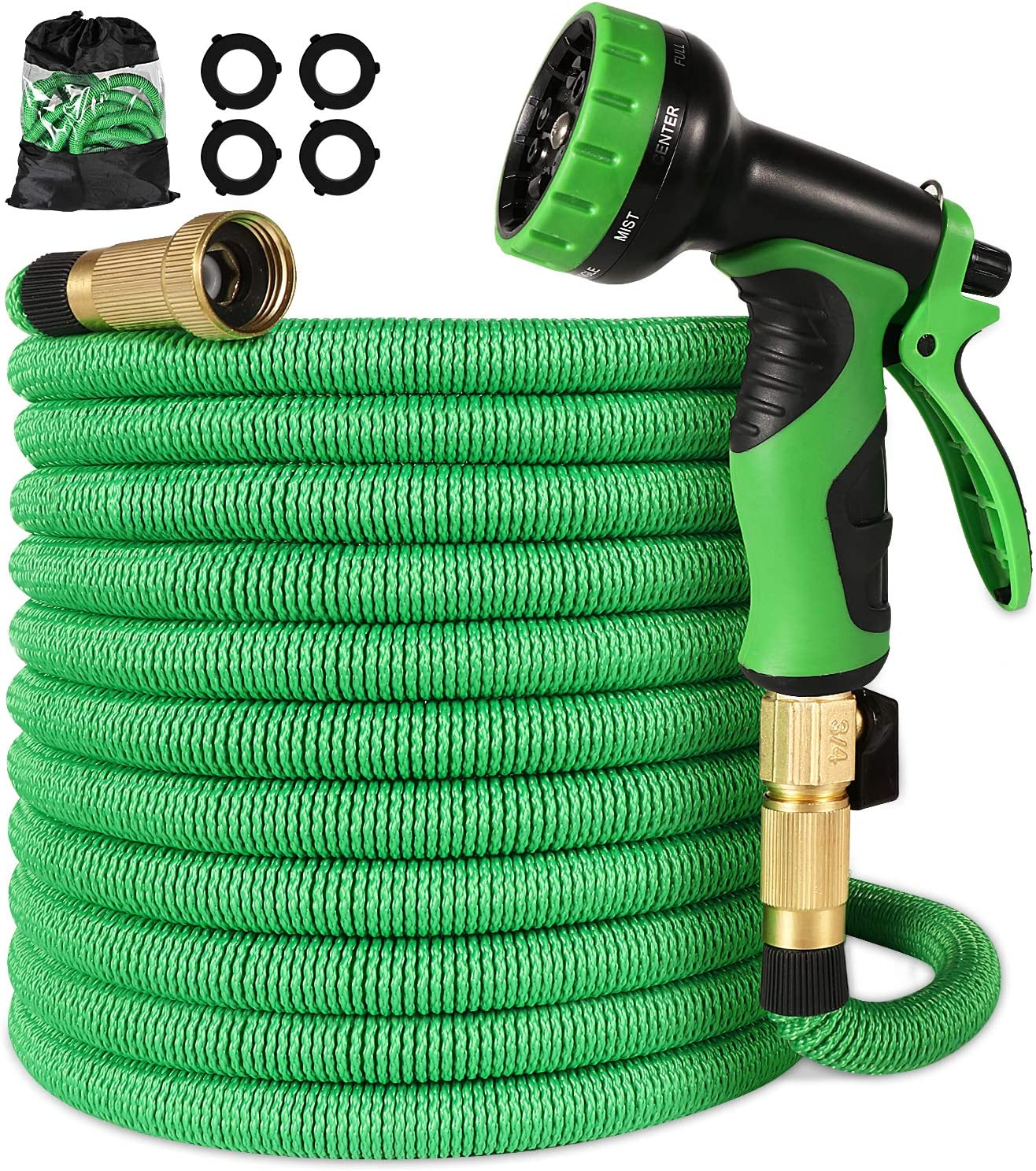 Linquo 150 ft Garden Hose - Upgraded Expandable Water Hose with 9 Pattern Spray Nozzle, 3/4 Solid Brass Connectors, Retractable Latex Core - New Flexible Expanding Hose