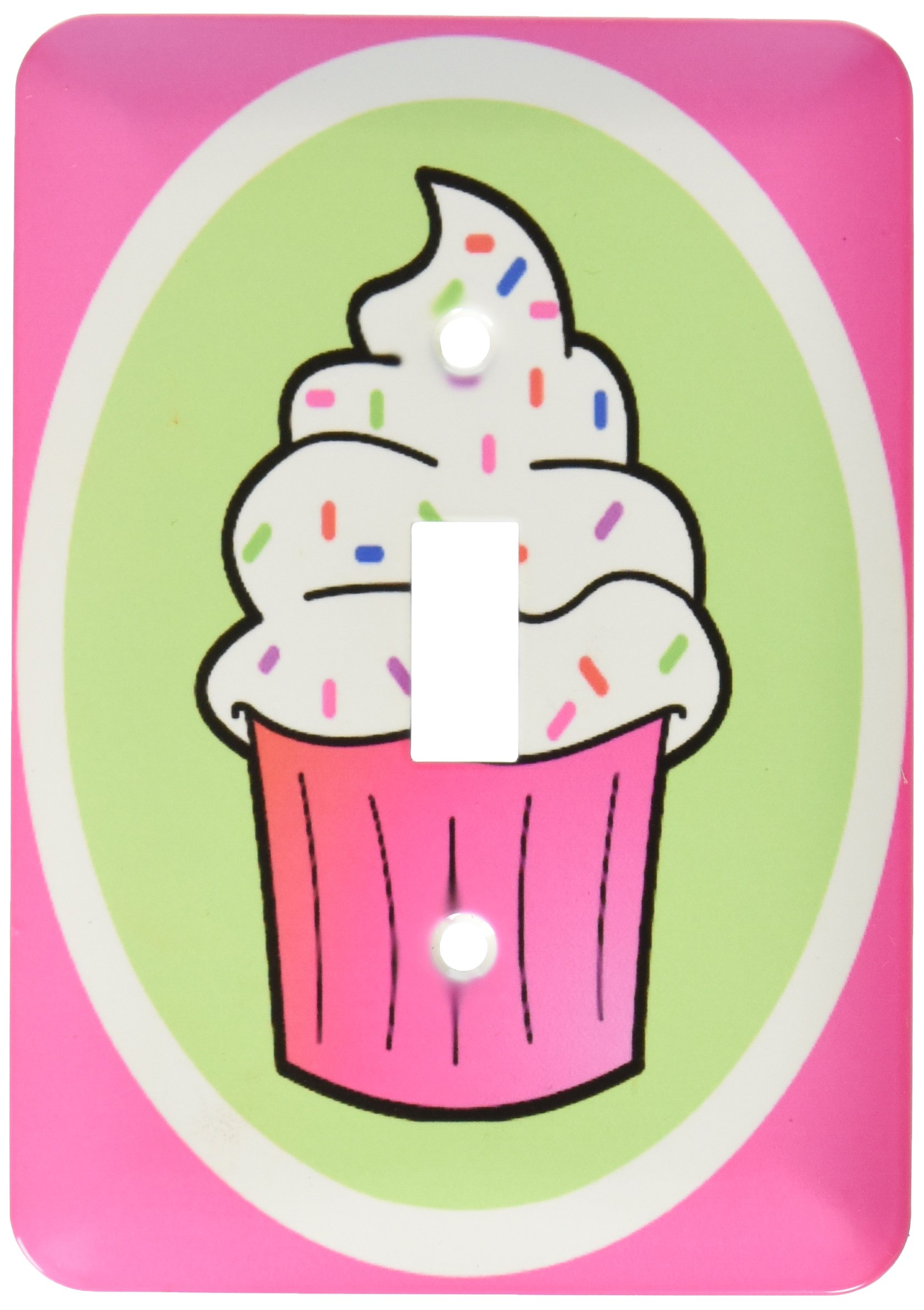 3dRose lsp_43129_1 Cute Cupcake White Frosting with Sprinkles Kawaii Cakes Pink Single Toggle Switch by 3dRose