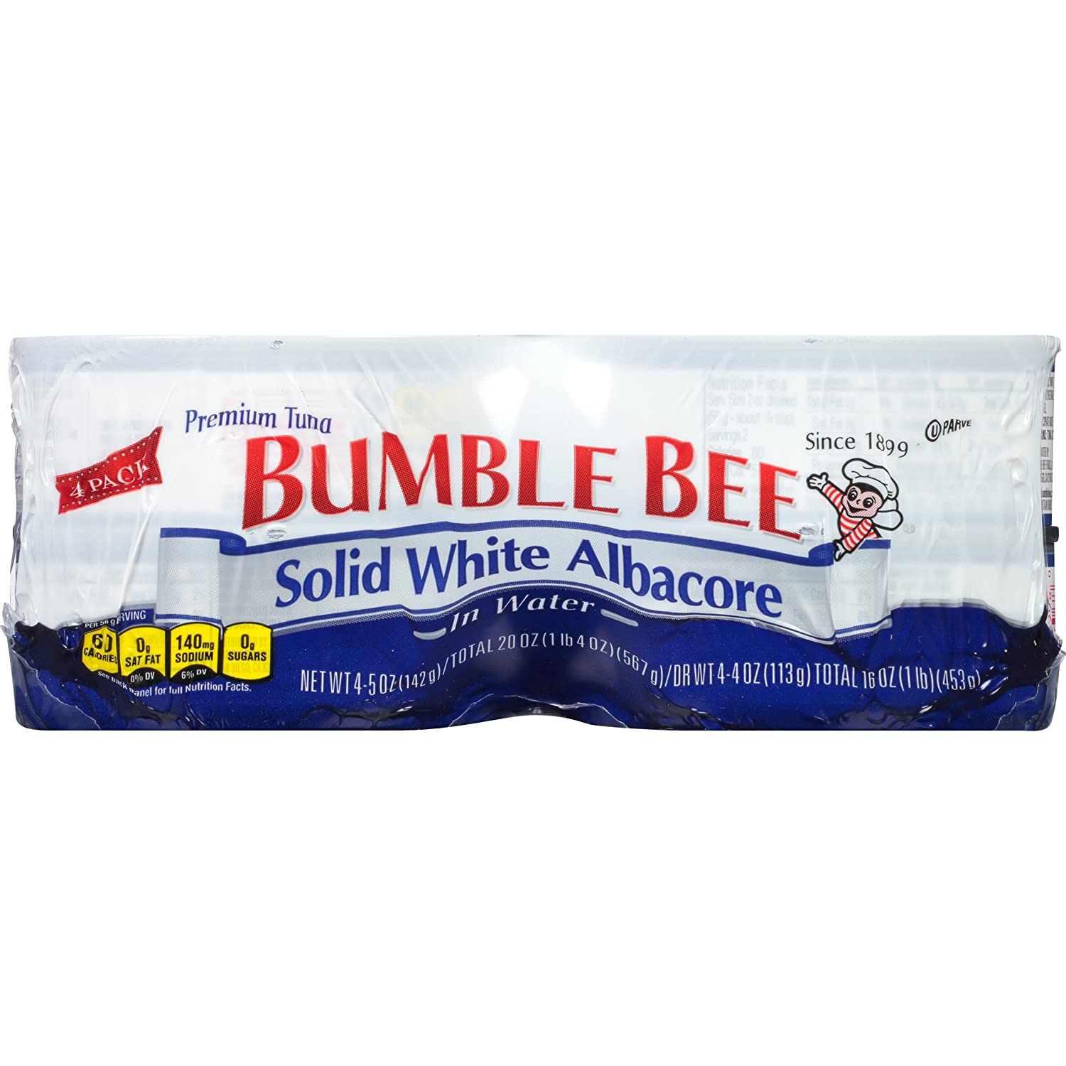Bumble Bee Solid White Albacore Tuna in Water, 5 oz Cans, 4Count (Pack of 6)