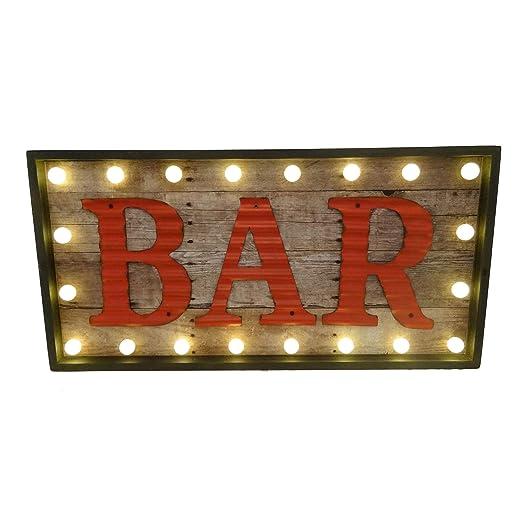 MAXIOCCASIONI Letrero Luminoso Bar: Amazon.es: Hogar