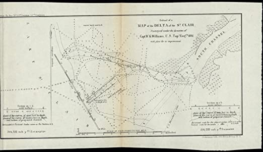 Amazon.com: St. Clair River Delta Michigan 1842 U.S.G. old ...