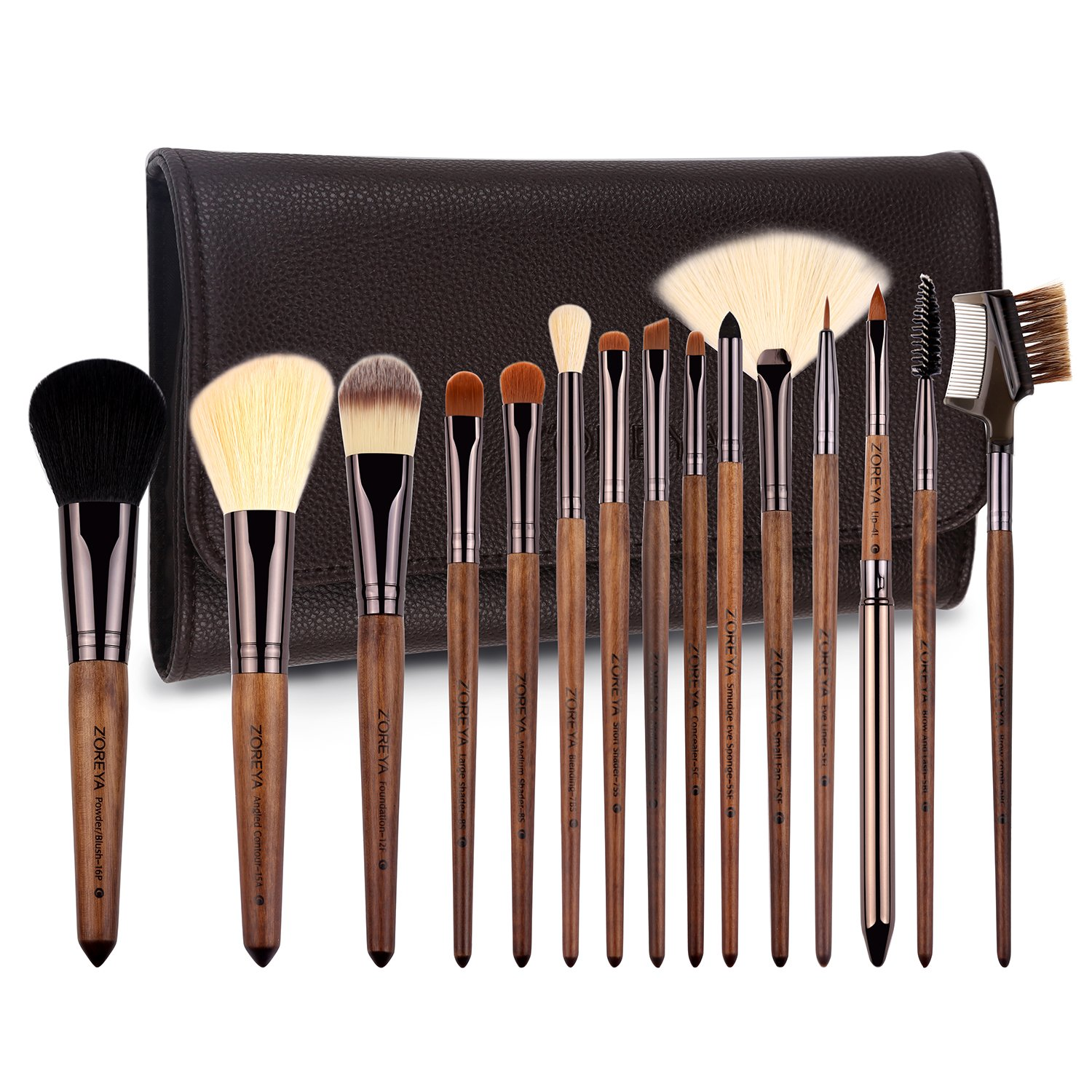 ZOREYA Makeup Brushes Set Walnut Professional Synthetic 15pcs High End Make up Brush Set For Cosmetic Make Up Contouring Powder Contour Foundation Eyebrow Eye shadow with Brush Case Holder