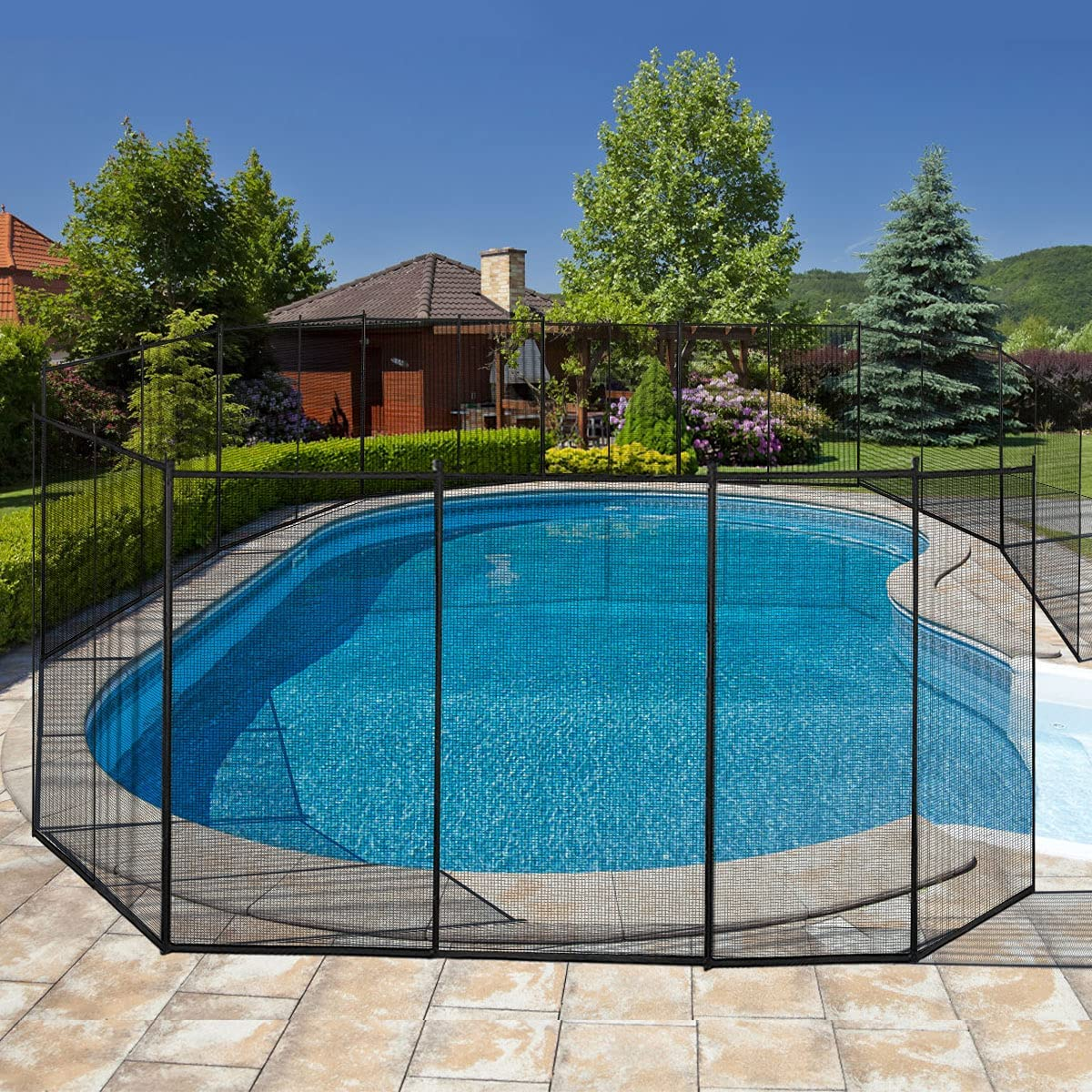 Giantex Pool Fence for In-Ground Easy DIY Installation Pool Barrier Safety Mesh Fence 4FootX12Foot Swimming Pool Fence, Black
