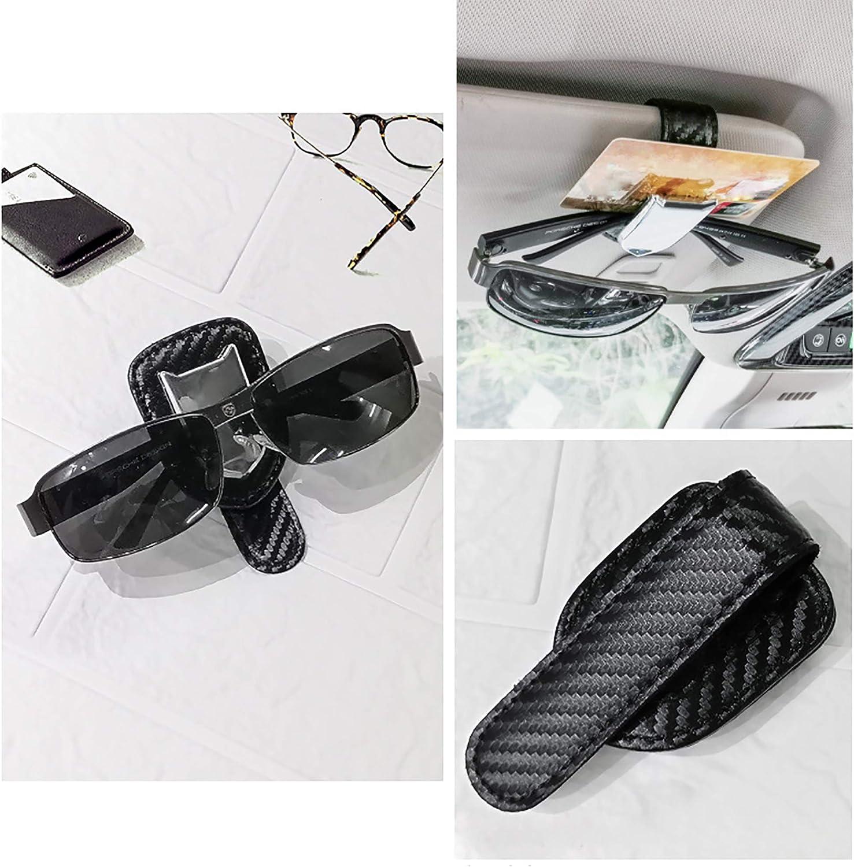 Fuxunamz Brillenhalter Auto Universal Brillenclip Für Sonnenblende Brillenhalterung Aus Leder Ticket Karte Clip Lesebrille Sonnenbrille Halter Schützen Sie Ihre Brillen Vor Kratzern Schwarz Auto
