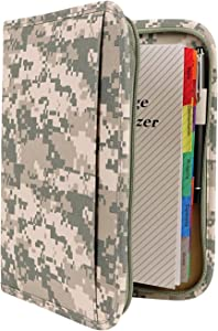 Large ACU Digital Camo Military Mid-Sized Binder with File System Planner Organizer Writing Folder-Daily, Weekly, Monthly Agenda Calendar-Bookmark/Ruler