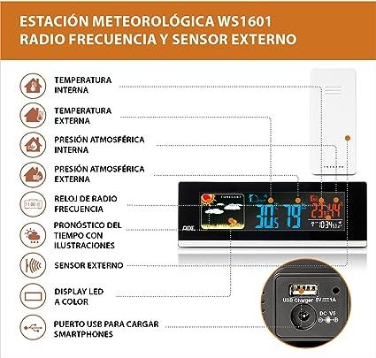 ADE WS1601 Estación meteorológica digital con radio-reloj-alarma y ...