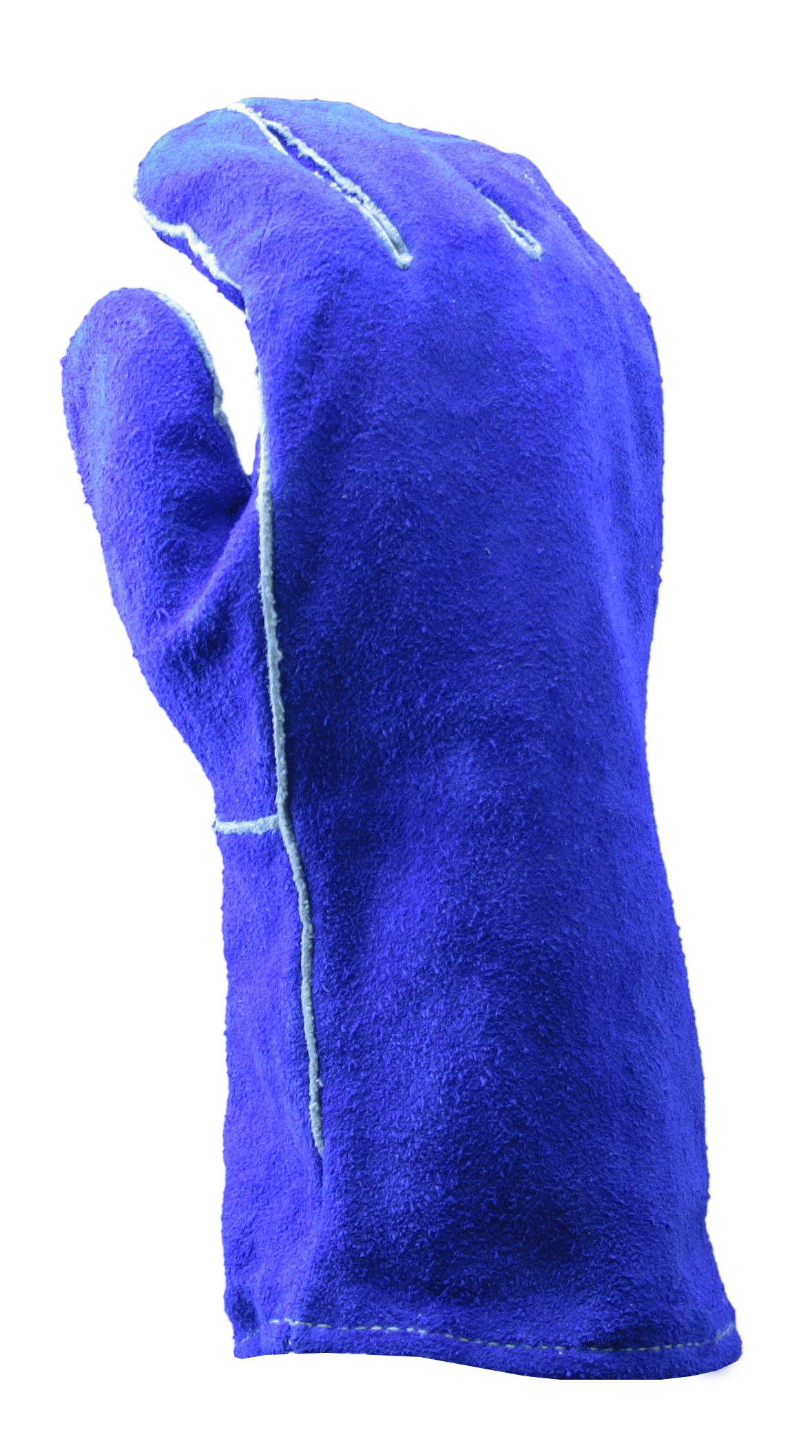 Blue Premium Leather Welders Gloves | Slip On Cuff, 14'' Length, Cotton/Foam Lining, Welted Seam, Kevlar Stitching Material - Small (Pack of 12) by Stauffer Glove & Safety (Image #3)