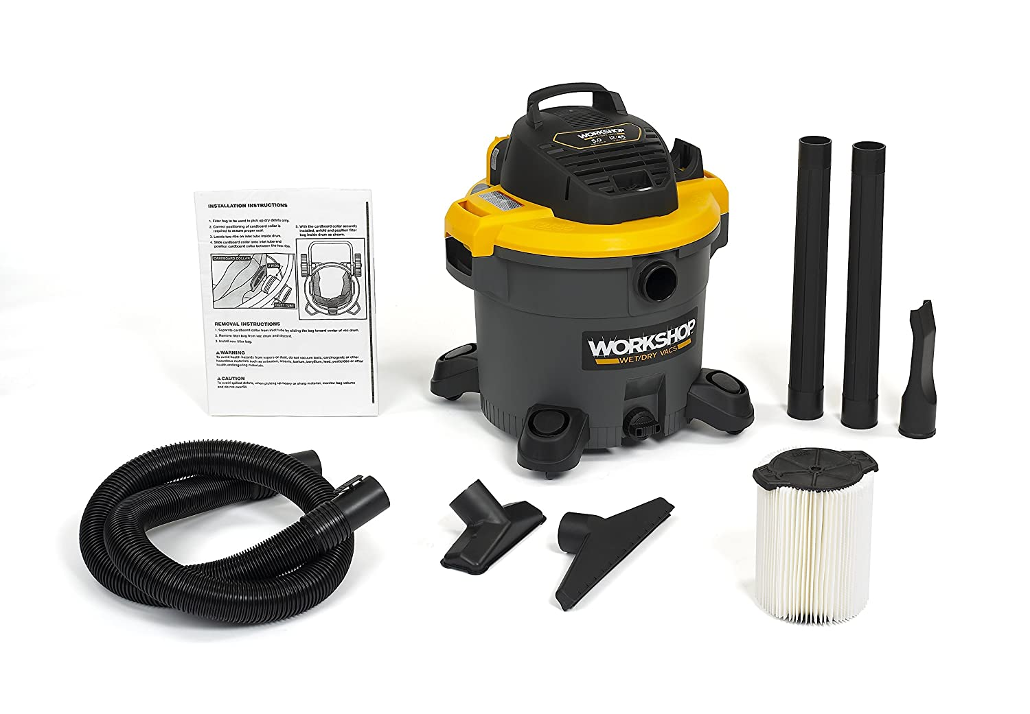 WORKSHOP Wet Dry Vac WS1200VA Heavy Duty General Purpose Wet Dry Vacuum Cleaner, 12-Gallon Shop Vacuum Cleaner, 5.0 Peak HP Wet And Dry Vacuum