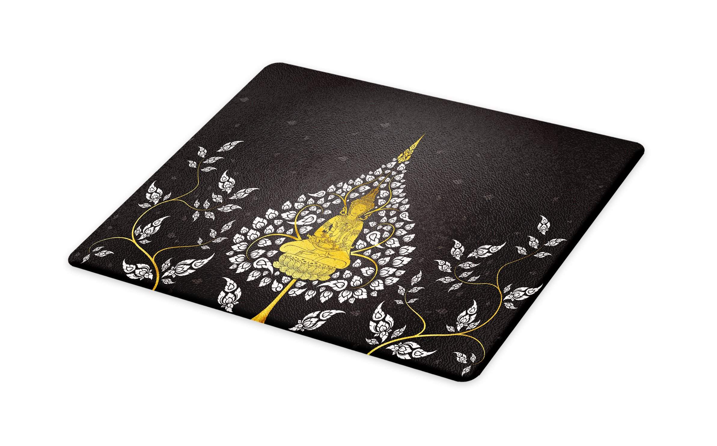 Lunarable Asian Cutting Board, Ancient Religious Thai Character with Floral Elements Meditation, Decorative Tempered Glass Cutting and Serving Board, Small Size, Charcoal Grey White Yellow by Lunarable