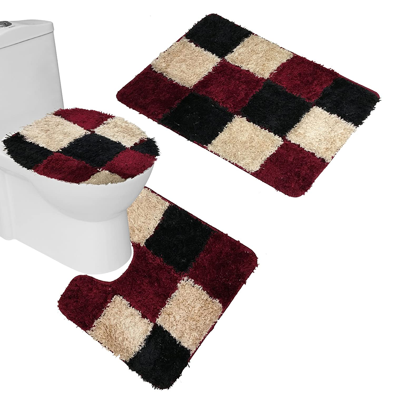 Amagical 3 Piece Bathroom Carpet Pedestal Lid Mat Toilet Cover Set Microfiber (Blue) Zhejiang DA980
