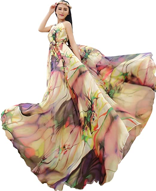eaa4fc0984f Medeshe Women s Chiffon Floral Holiday Beach Bridesmaid Maxi Dress Sundress  (Length  115cm)