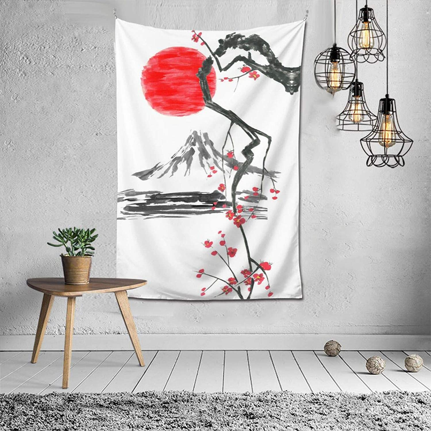 Japanese Decor Wall Tapestry Oriental Traditional Painting Fuji Mountain Sakura Sunset Tapestries Wall Art Hippie Bedroom Living Room Dorm Wall Hanging Throw Bedspread 40'' x 60''