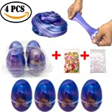 Galaxy Slime Eggs w/ Colorful Charms (4-Pack) Soft, Non-Sticky Putty Toys for Kids | Slime Promotes Early Learning, Sensory Play, Stress Relief | Fluffy, Stretchy, Reusable Fun Slime