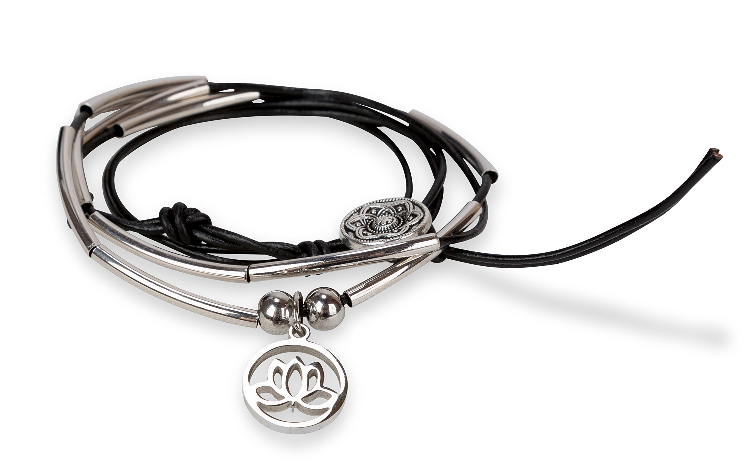 SPUNKYsoul Silver Lotus New Beginnings Bracelet Leather Wrap with Crescents (Lotus)