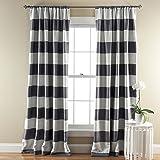 Lush Decor Stripe Room Darkening Window Curtain, 84 by 52-Inch, Gray, Set of 2