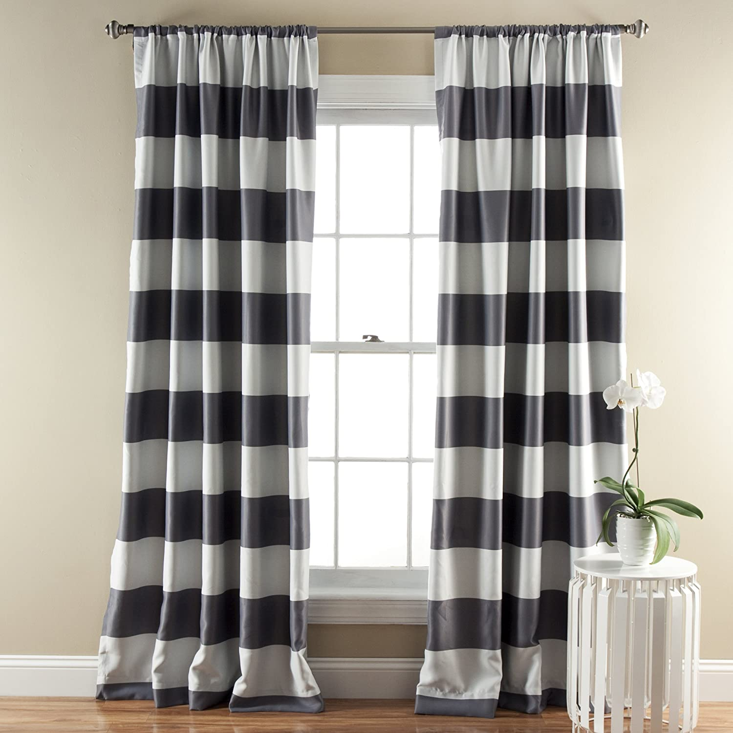 ordinary 52 Inch Length Curtains Part - 14: Amazon.com: Lush Décor Stripe Room Darkening Window Curtain Panel, 84 inch  by 52 inch, Navy, Set of 2: Home u0026 Kitchen