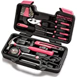 Cartman Pink 39-Piece Tool Set - General Household Hand Tool Kit with Plastic Toolbox Storage Case