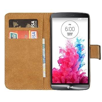 Ambaiyi Flip Funda de Cuero Genuina Piel con Tape Carcasa para LG G3S Funda , Negro