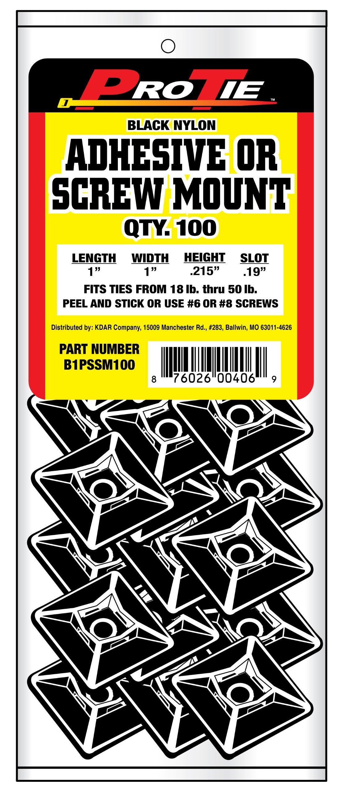 Pro Tie B1PSSM100 1-Inch Adhesive or Screw Mount Cable Tie Mount, Black Nylon, 100-Pack