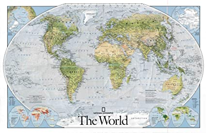 Amazon.com: Gifts Delight Laminated 37x24 Poster: Physical Map ...