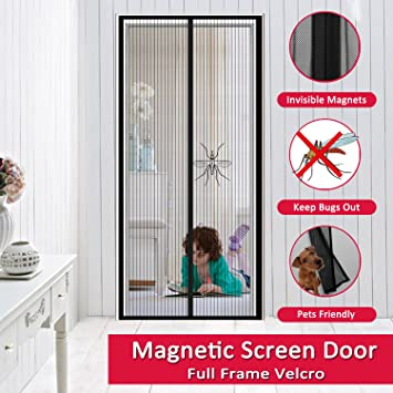 Easylife Magnetic Screen Door U2013 Hands Free Full Frame Velcro Mesh Curtain,  Bugs Mosquitoes Out