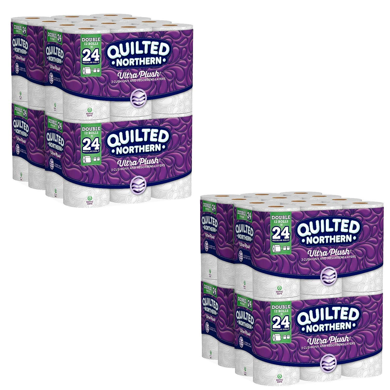 Quilted Northern Ultra Plush Toilet Paper, 48 Double Rolls, 48 = 96 Regular Rolls, 3 Ply Bath Tissue, 4 Pack of 12 Rolls (96 Double Rolls)