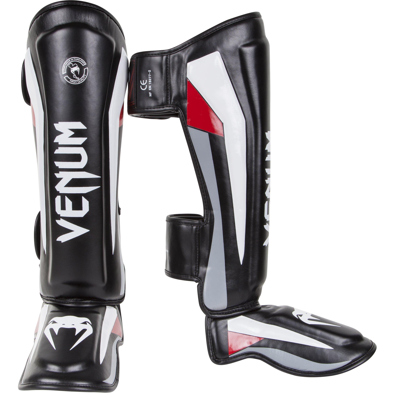 Venum Elite Standup Shinguards, Black/Red/Grey, Medium