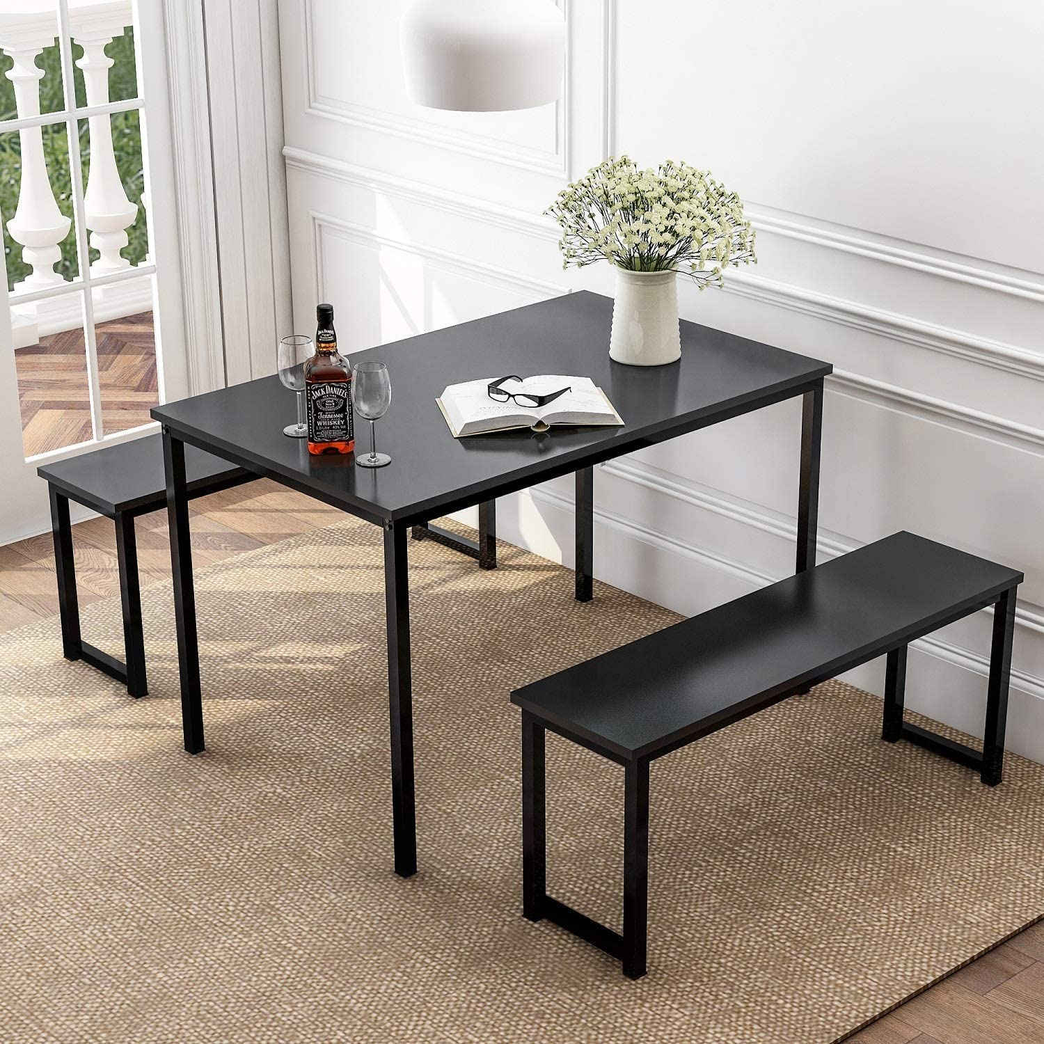 Depointer 3 Pieces Dining Table Set 2 Benches Kitchen Furniture, Modern Style Wood Top with Metal Frame,Black