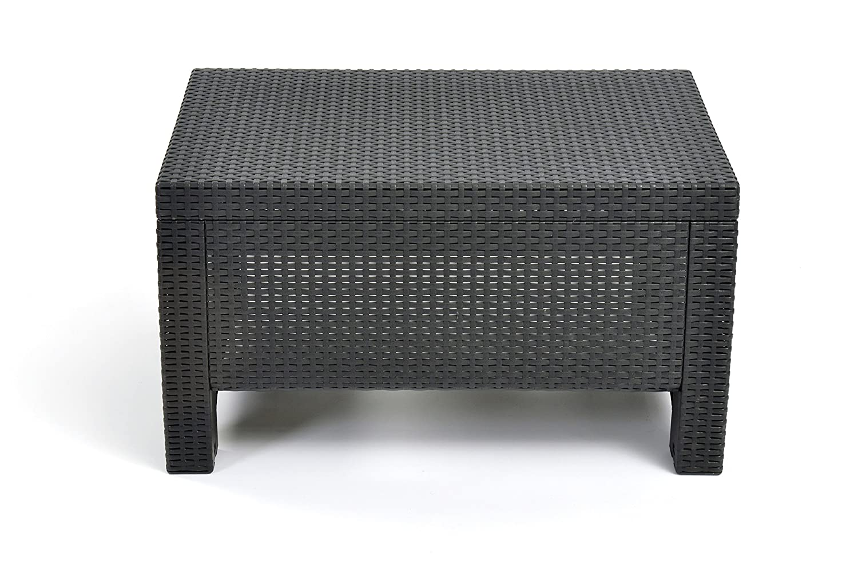Keter Corfu Coffee Table Modern All Weather Outdoor Patio Garden Backyard Furniture, Charcoal