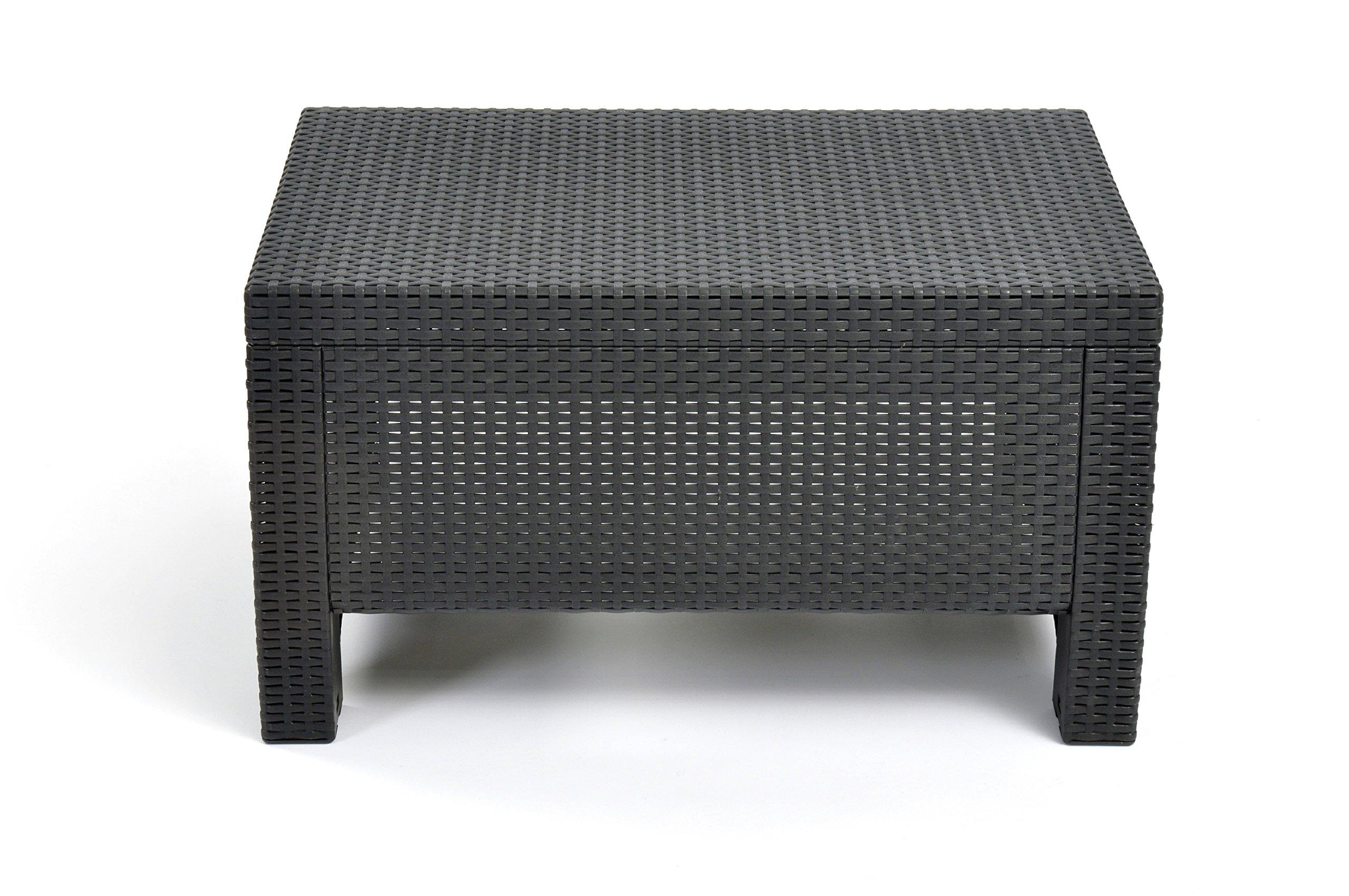 Keter Corfu Coffee Table Modern All Weather Outdoor Patio Garden Backyard Furniture, Charcoal product image