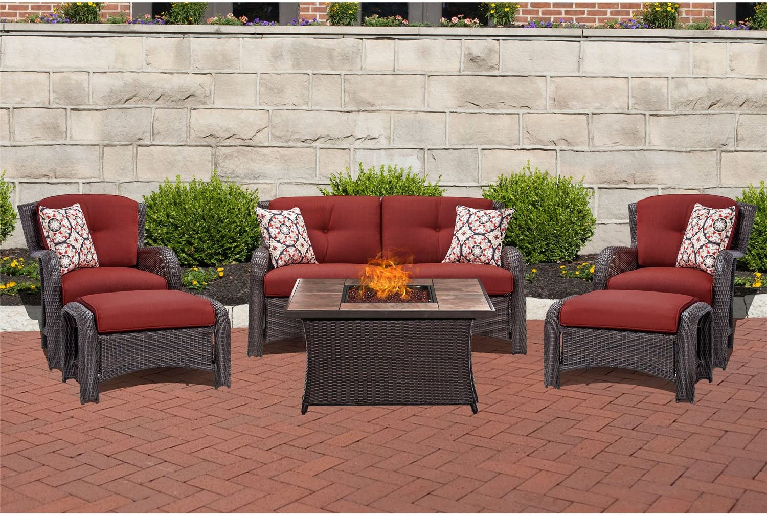 Hanover STRATH6PCFP-RED-TN 6 Piece Strathmere Lounge Set Table Outdoor Furniture, Crimson Red with Stone Top Fire Pit
