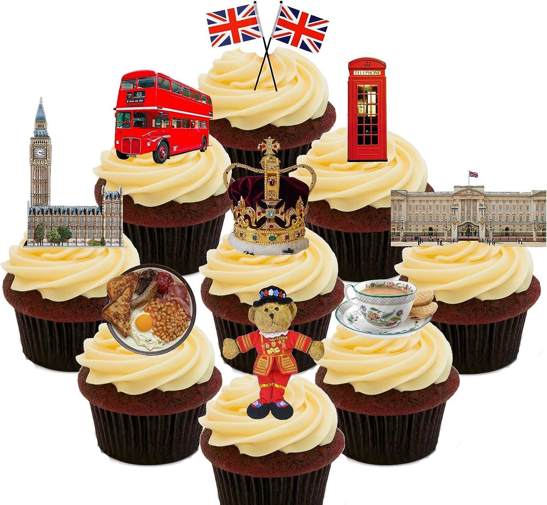 Unión Jack, autobús de Londres, Big Ben, etc. Parte unidades, decoración para tartas stand-up oblea comestible cupcake toppers, Pack of 72