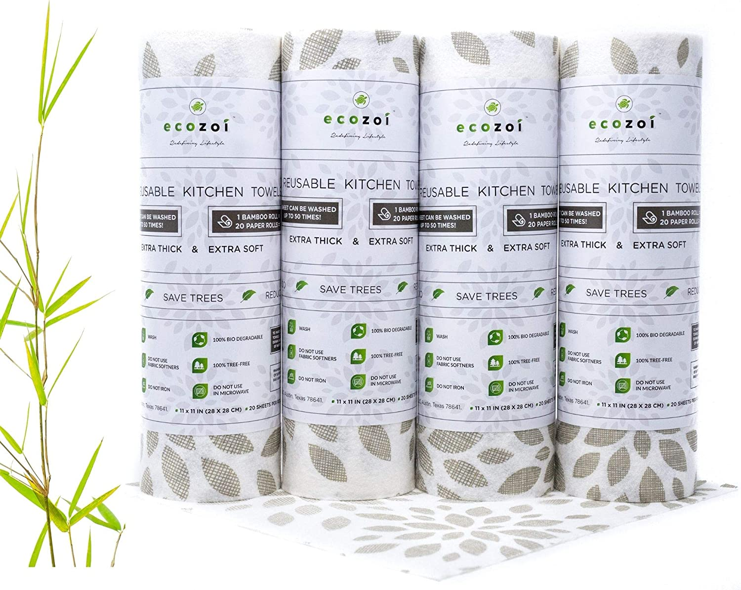 Ecozoi Extra Thick Eco-Friendly Zero Waste BambooKitchen Paper Towels, Heavy Duty Reusable, Washable, Biodegradable Unpaper Towels - 4 Pack
