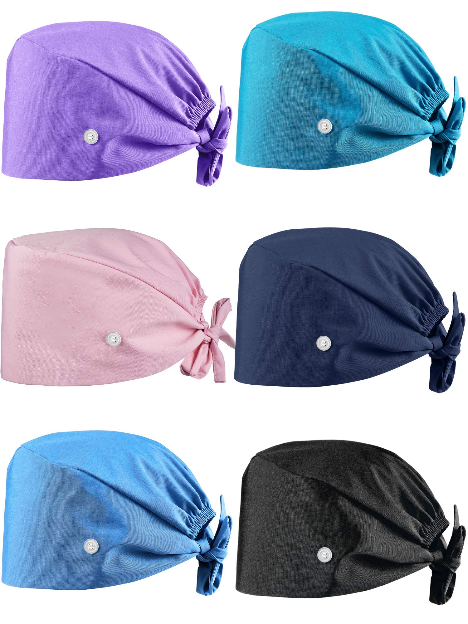SATINIOR 6 Pieces Gourd-Shaped Working Caps with Buttons Adjustable Bouffant Hats Multicolor Tie Back Caps