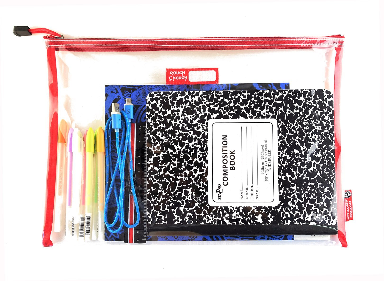Rough Enough Durable Transparent Clear Classic Multi-Functional Big Document Pouch with Zipper A4 Size Important Storage File Holders Large Folder for Filing Organizer TSA School Business Travel by RE ROUGH ENOUGH (Image #5)