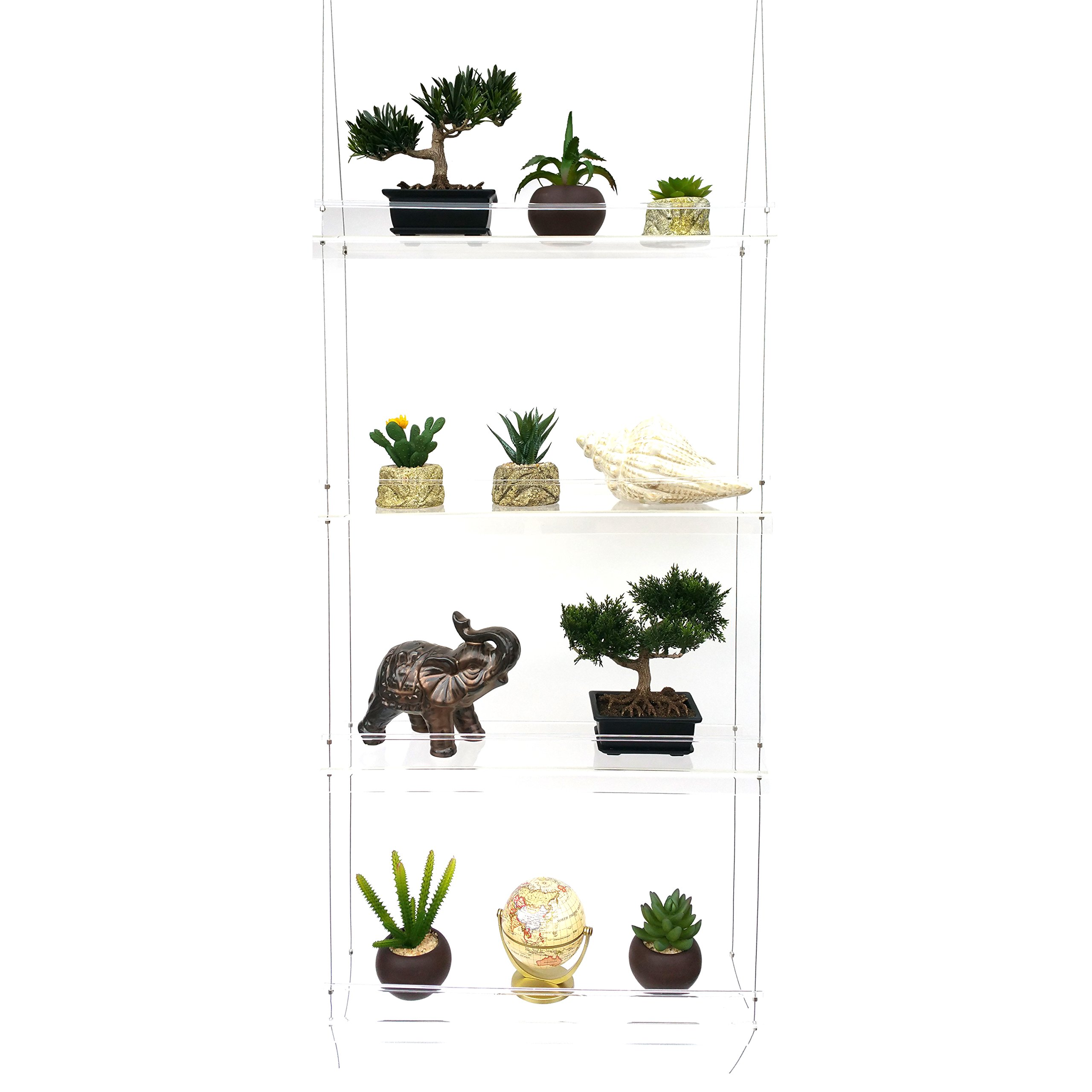 LIMITED TIME LOW PRICE FOR FIRST TIME SELLING ON AMAZON|Sunshine Innovations Indoor Window Plant Shelves|Durable & Lightweight Acrylic with Adjustable Height Shelves|For Plants, Herbs, Flowers & Decor