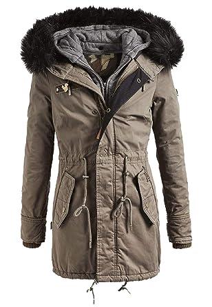 khujo Dorota with Innerjacket Damen Parka Winterjacke Jacke Faika Babette Jacket beige braun Military Green