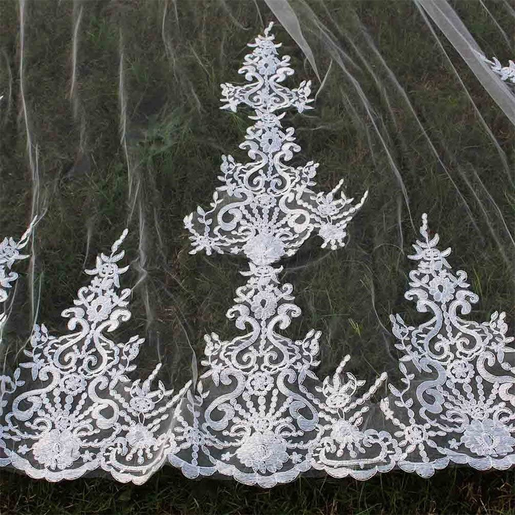MERMAIDFUN 4 Meters Long Bridal Veil Lace White Ivory Wedding Veil
