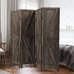 JAXSUNNY 4 Panel Wood Room Divider,Folding Privacy Screens,Wall Screen Room Dividers,Upscale Sycamore Solid Foldable Screen for Room Division or Privacy Partial Partition,deep Burnt Brown