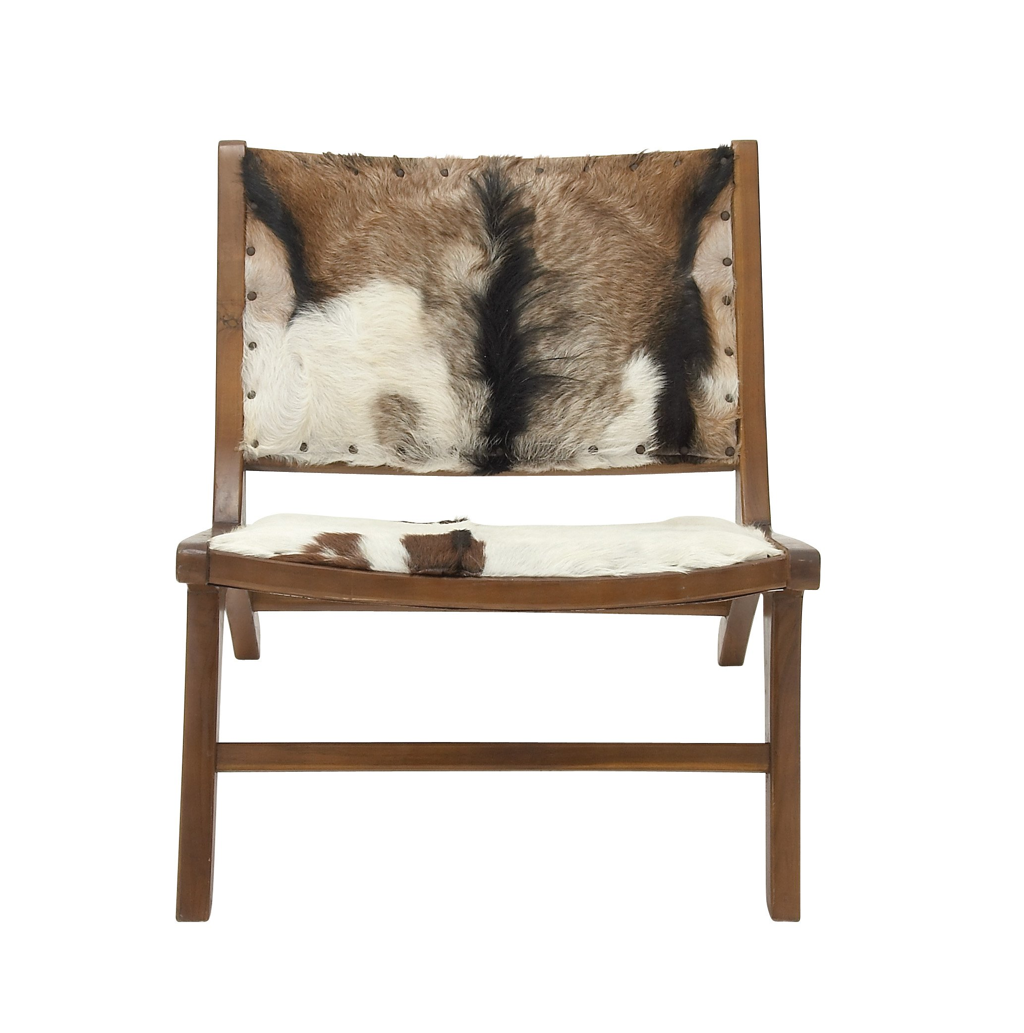 Deco 79 37794 Teak Hide Lounge Chair, 32'' x 27''