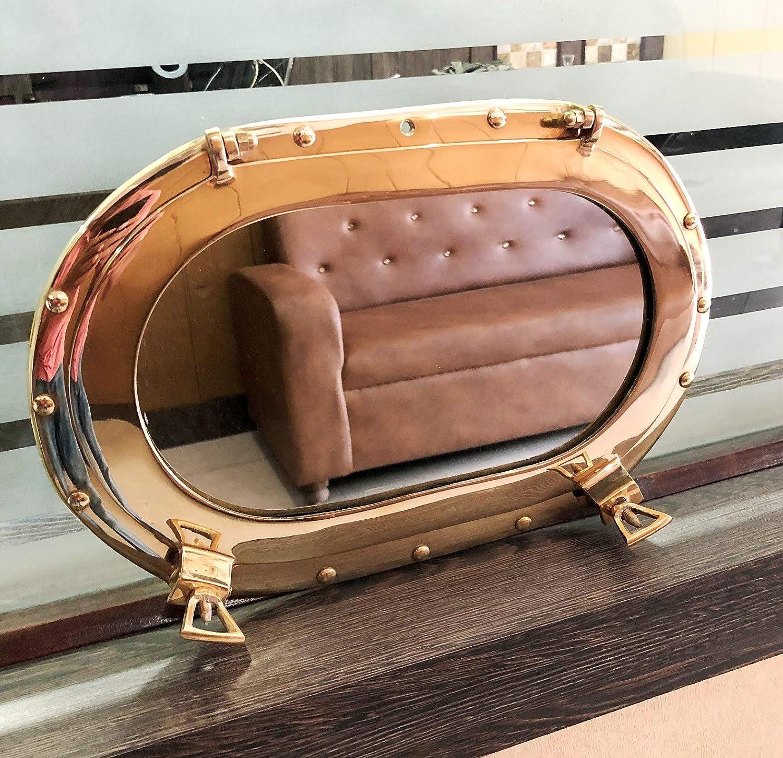 Antique Oval Brass Mirror