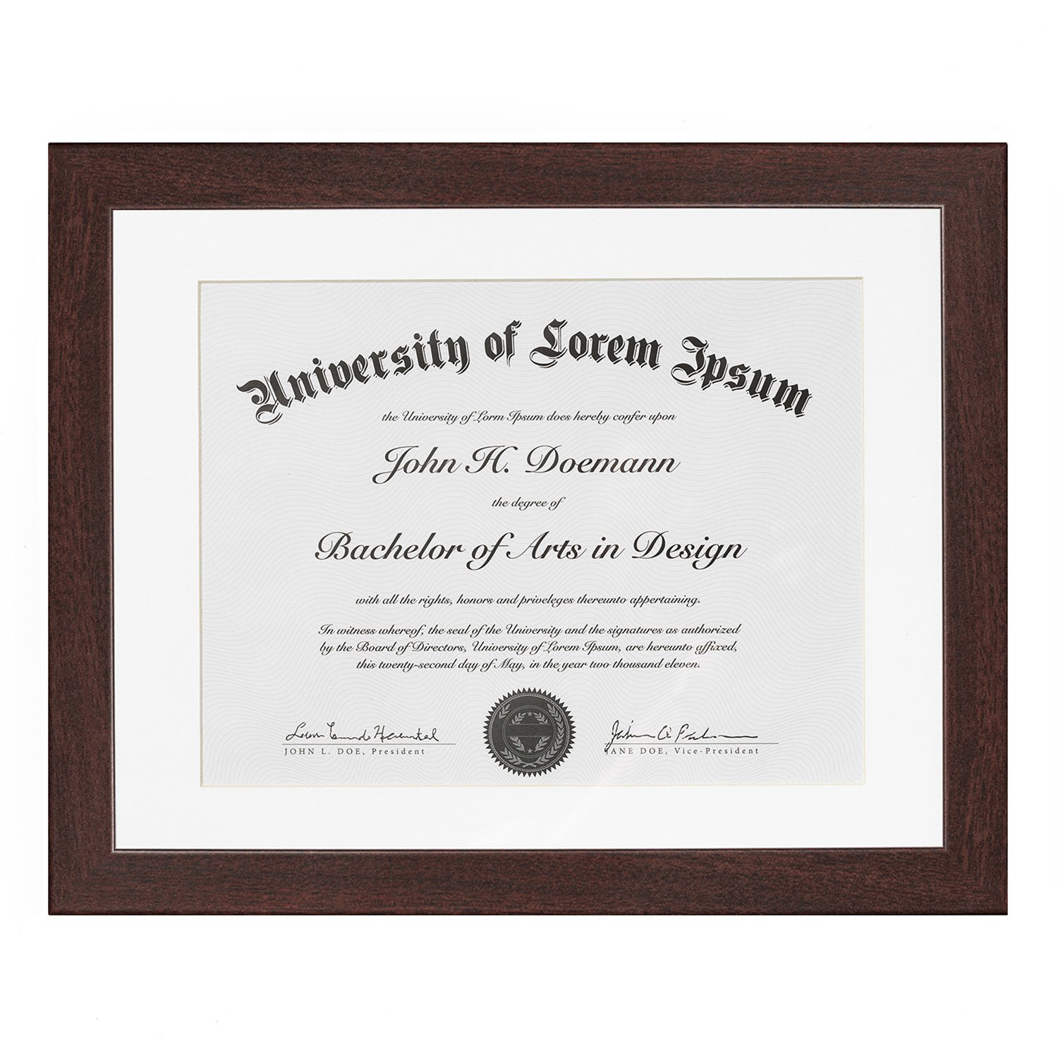 Americanflat Mahogany Document Frame - Made to Display Documents Sized 8.5x11 inches with Mat and 11x14 Without Mat - Document Frame, Certification Frame, High School Diploma Frame